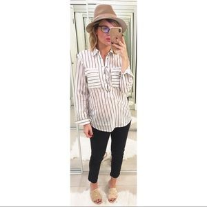Equipment Knox Lace Up Blouse White & True Black